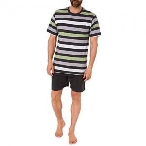 Lässiger Herren Shorty Pyjama Kurzarm Schlafanzug in Streifenoptik - 191 105 90 516