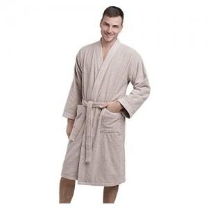 DREAMON Bademantel Herren - 100% Baumwolle Flauschig Frottee Morgenmantel - Unisex Perfekt für Herren und Damen - Farbe Beige
