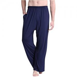 Dolamen Herren Schlafanzughose Hose Lang 2018 Modal Baumwolle unterwäsche Casual Hosen Nachtwäsche Pyjamahose verstellbarem Elastik-Bund Taschen Schlafen Yoga Sport Freizeit
