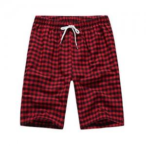 Herren Kurz Schlafanzughose Kariert Pyjamahose Mit Taschen und verstellbarem Kordelzug Freizeithose Kurz