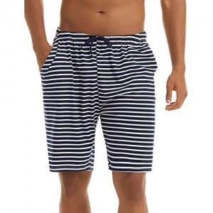 Irevial Herren Schlafanzughose Streifen Kurz Baumwolle Pyjamahose Shorty Nachtwäsche Loungewear Schlafanzug Freizeithose für Schlafzimmer Urlaub Sport Ausgehen