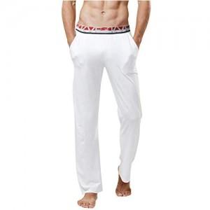 YAOMEI Herren Schlafanzughose Hose Lang Modal Baumwolle unterwäsche Casual Hosen Nachtwäsche Pyjamahose Elastik-Bund Schlafen Yoga Sport Freizeit