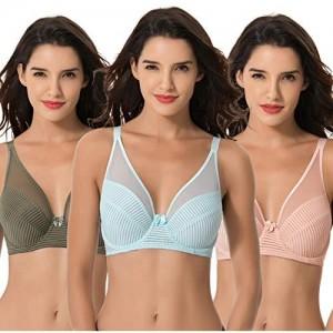 Curve Muse Women's Plus Size Minimizer Unlined Underwire Full Coverage Bra-3PK-GREEN Pink LT BLUE-40DDDD