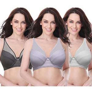 Curve Muse Women's Plus Size Minimizer Unlined Underwire Full Coverage Bra-3PK-LAVENDER Gray CREAM-42DDDD