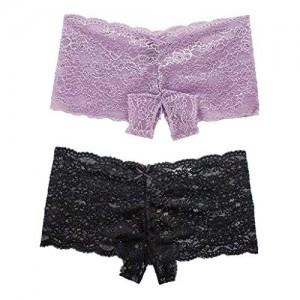 NPRADLA 1/2/5 Pieces Unterhose für Damen-Dessous in Übergrößen Transparente Unterwäsche Slip mit offenem Schritt und Schleife Elastische Shorts für Damen-Unterwäsche