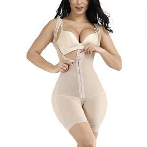 FeelinGirl Damen Shapewear Bauchweg Body Shaper Formende Bodysuit Formender Mieder-Body mit Haken und Ösen Beige Lang 3XL